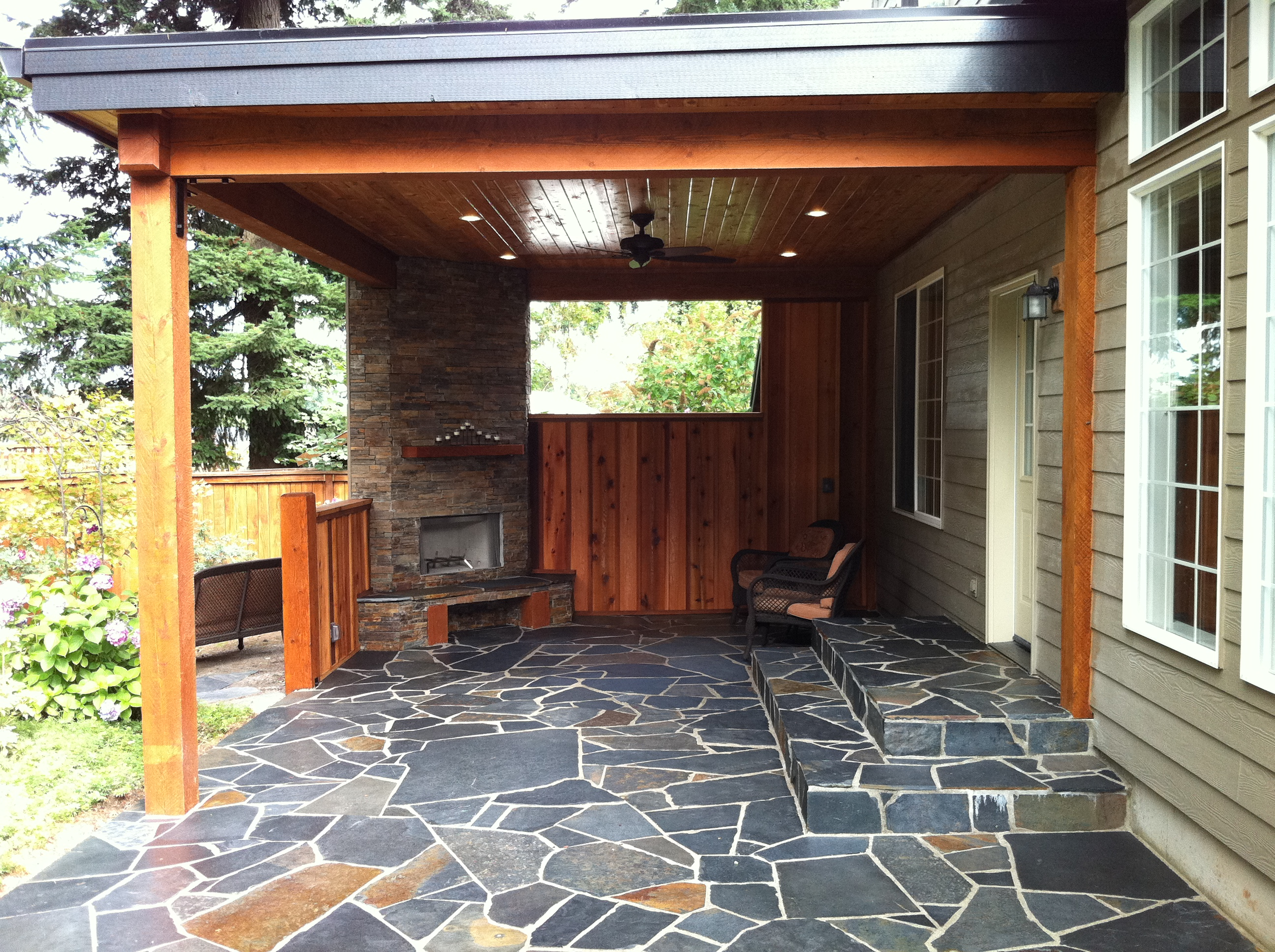 outdoor fireplace and patio area indy construction llc