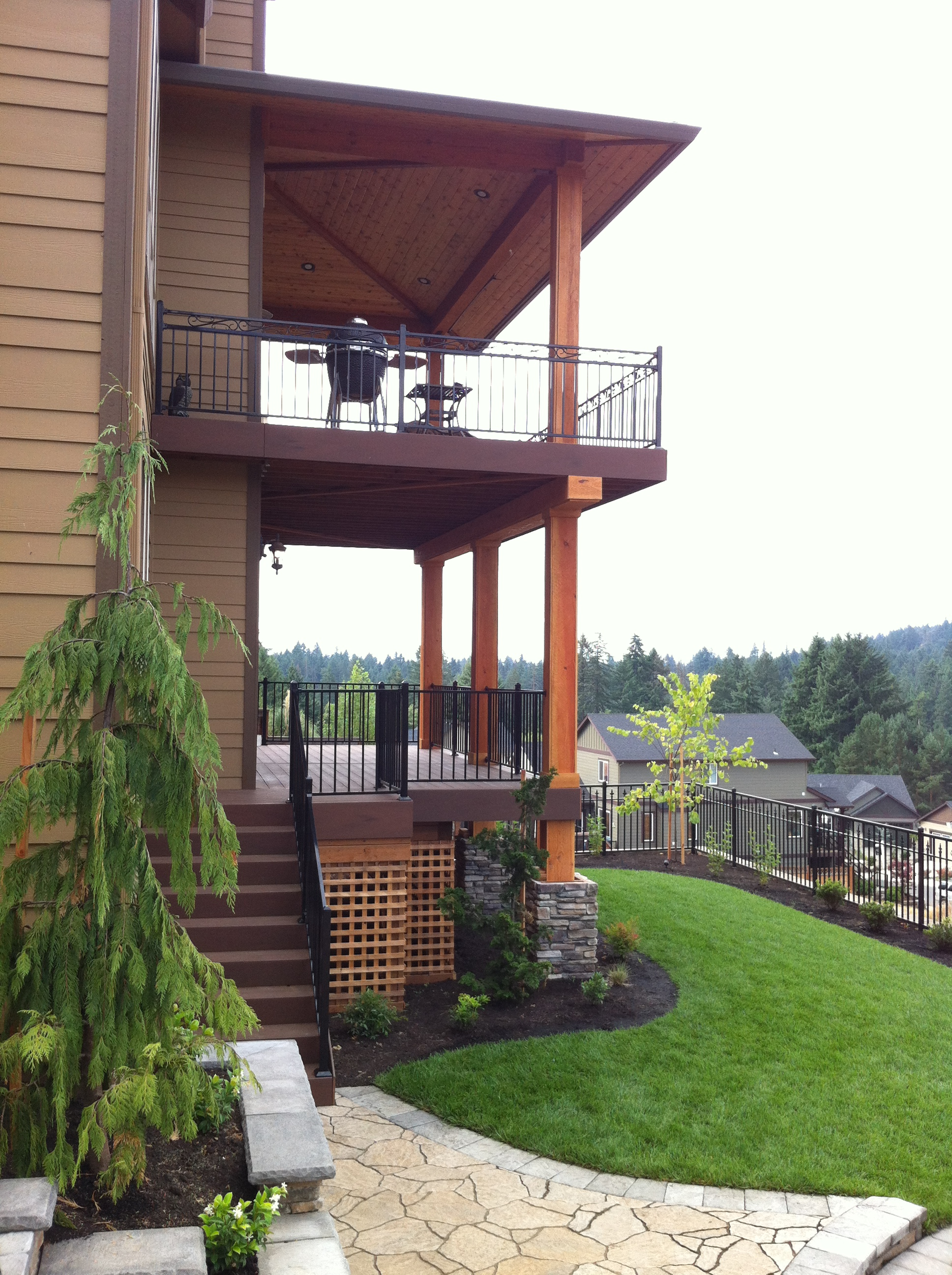 This Project Has 30u2032 8×8 Post In 5u2032 Deep Footings In Order Support The  Nearly 3 Story High Patio Cover And Decks. It Has Timber Beams, Timber Tech  Composite ...