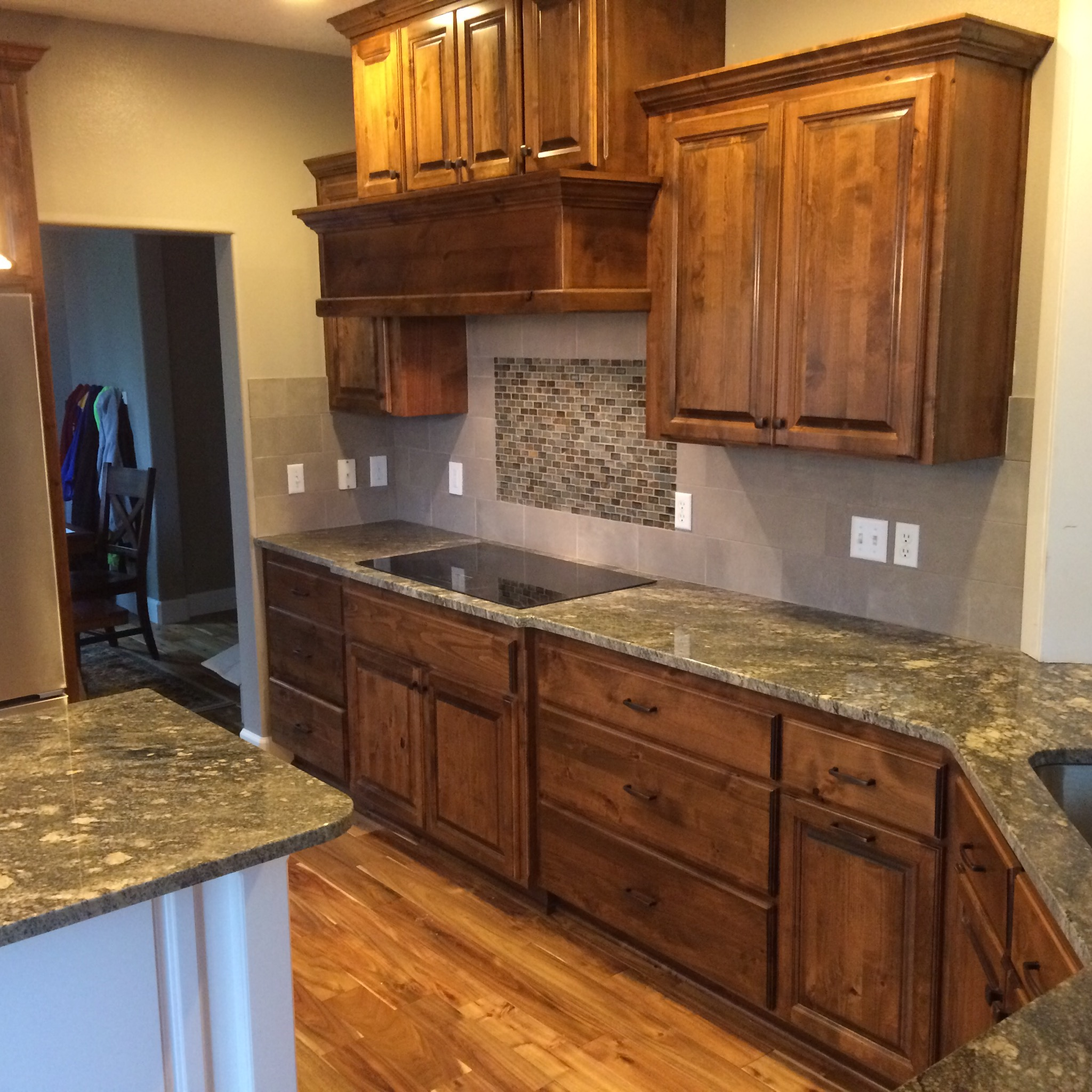 Livingston mt kitchen remodel indy construction llc for Acacia wood kitchen cabinets